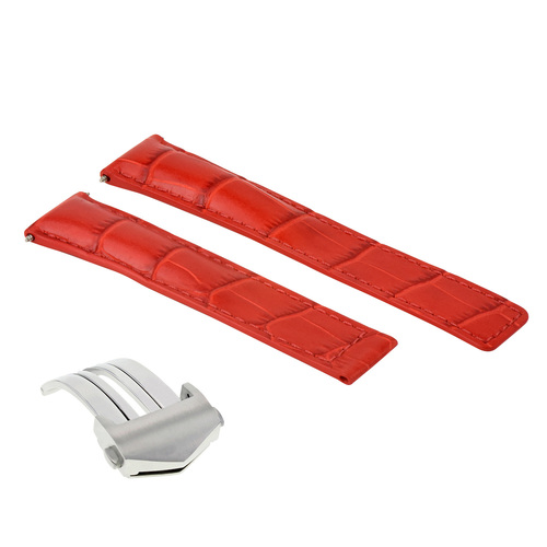 20MM LEATHER WATCH BAND STRAP FOR TAG HEUER CARERRA MONACO FORMULA F1 CLASP RED