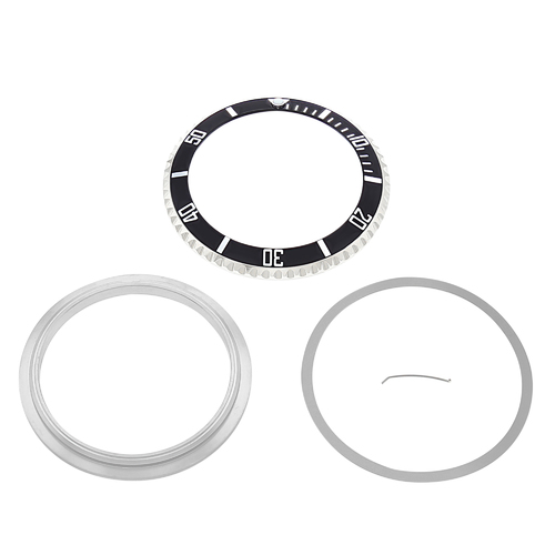 ROTATING BEZEL + INSERT+ RETAINING ,CLICK FOR ROLEX SUBMARINER 16800 16610 BLACK