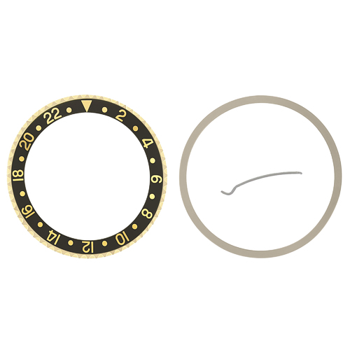 BEZEL + INSERT FOR ROLEX GMT 18KY REAL GOLD 16700 16710 16718 16760 16713 BLACK