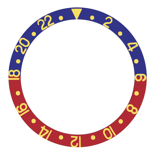 BEZEL INSERT FOR ROLEX GMT 6542 GEN N-CROWN GUARD PEPSI BLUE/RED GOLD/FONTS