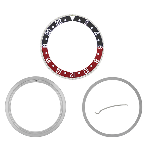 BEZEL+ INSERT + RETAINING FOR ROLEX GMT 16700 16710 16713 16718 16760 BLACK/RED