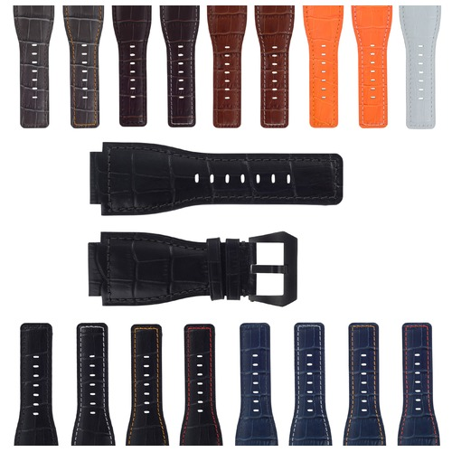 24MM REPLACEMENT LEATHER WATCH BAND STRAP FOR BELL & ROSS BR-01-BR-03 BLK BUCKLE