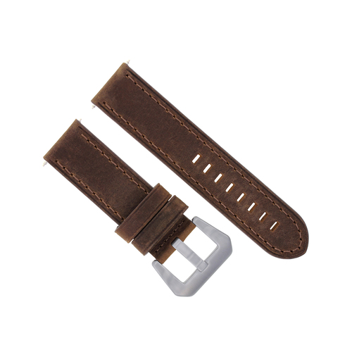 24MM LEATHER STRAP WATCH BAND FOR PANERAI MARINA GMT 1950 88 104 177 112 BROWN