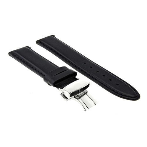 18-19-20-22MM GENUINE SMOOTH LEATHER BAND DEPLOYMENT CLASP STRAP FOR ROLEX BLACK