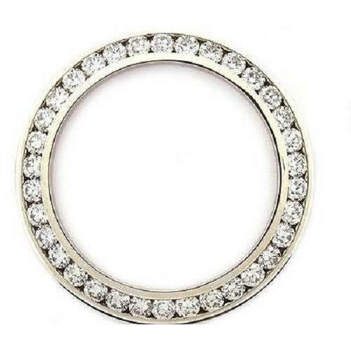 MENS 5CT CHANNEL SET DIAMOND BEZEL 14KW FOR ROLEX WATCH