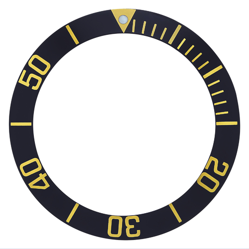 BEZEL INSERT FOR 43MM CASE TAG HEUER AQUARACER 300MM BLACK GOLD NUMBERS