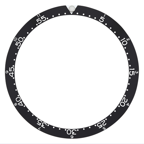 REPLACEMENT BEZEL INSERT BLACK WITH PEARL FLAT FOR WATCH 39.40MM X 32.10MM