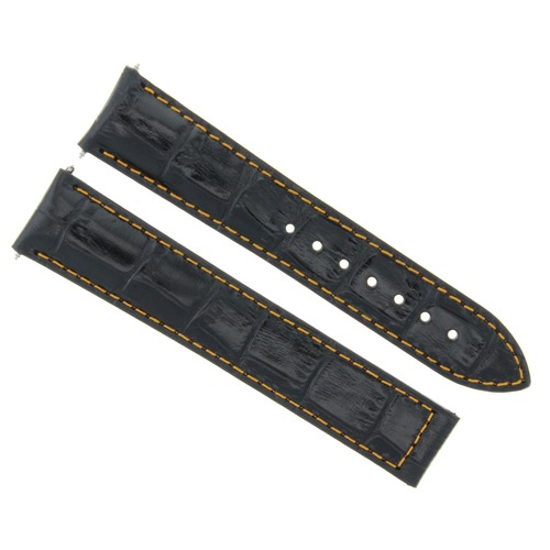 19MM LEATHER WATCH STRAP BAND FOR OMEGA SPEEDMASTER SEAMASTER CLASP BLACK OS