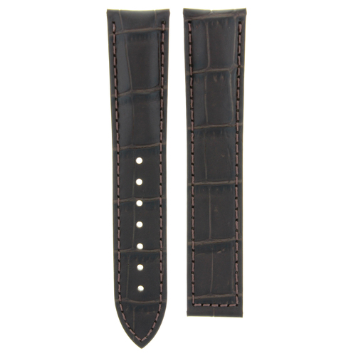 19MM LEATHER WATCH STRAP BAND FOR OMEGA SEAMASTER DEPLOYMENT CLASP DARK BROWN