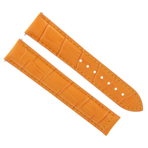 LEATHER WATCH STRAP BAND CLASP FOR 22MM OMEGA SEAMASTER PLANET OCEAN  ORANGE