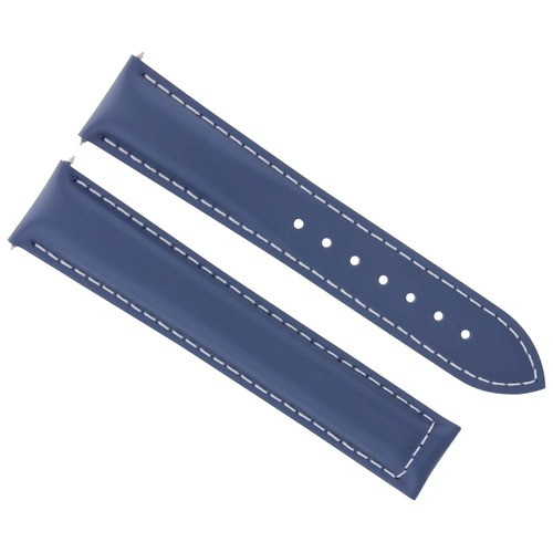 LEATHER STRAP WATCH BAND FOR OMEGA SEAMASTER SPEEDMASTER MOON 19/16 BLUE WS