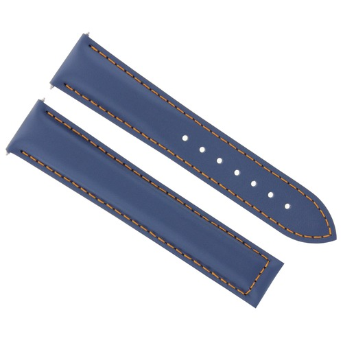 19MM LEATHER STRAP WATCH BAND FOR OMEGA SEAMASTER SPEEDMASTER MOON BLUE OS #19