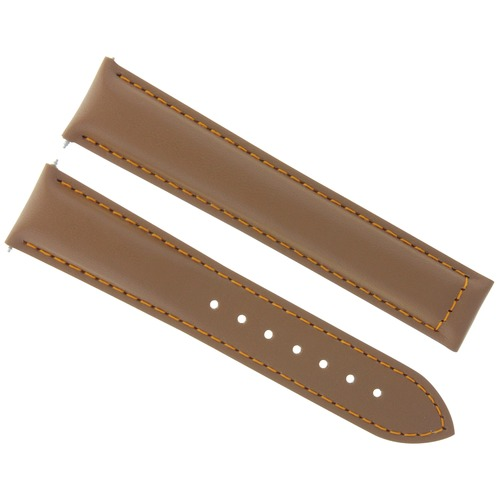 19MM LEATHER STRAP WATCH BAND CLASP FOR OMEGA SPEEDMASTER MOON TAN/BROWN OS
