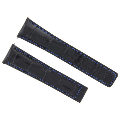 19MM LEATHER STRAP BAND FOR TAG HEUER CARRERA TWIN TIME WATCH BLACK BLUE STITCH