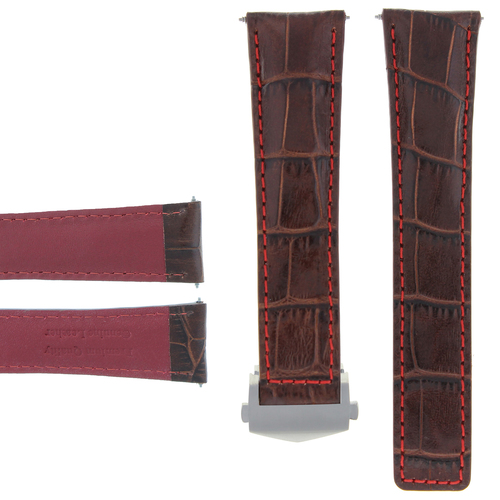 20MM LEATHER BAND STRAP CLASP FOR TAG HEUER CARRERA MONACO BROWN ORANGE STITCH
