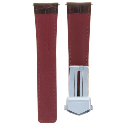 20MM LEATHER BAND STRAP CLASP FOR TAG HEUER CARRERA MONACO BROWN ORANGE STITCH