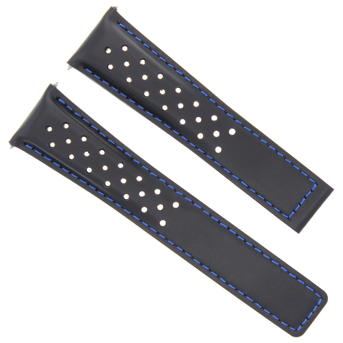 LEATHER WATCH BAND STRAP DEPLOYMENT 20MM FOR TAG HEUER CARRERA BLACK BLUE STITCH