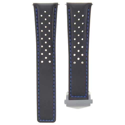 BLACK BLUE STITCH LEATHER WATCH BAND STRAP CLASP FOR TAG HEUER CARRERA WV211A