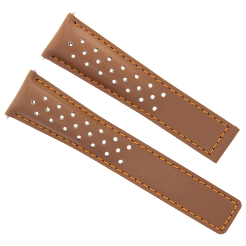 LEATHER WATCH STRAP 22MM FOR TAG CARRERA MONACO SPORTS TAN 10T OS FC-5037-39R