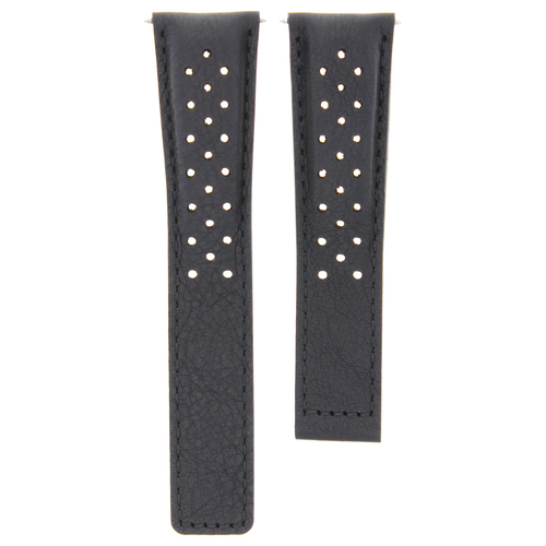 LEATHER BAND STRAP FOR TAG HEUER MONZA 20/16MM WR2110.BT0714 WATCH BLACK FC5013