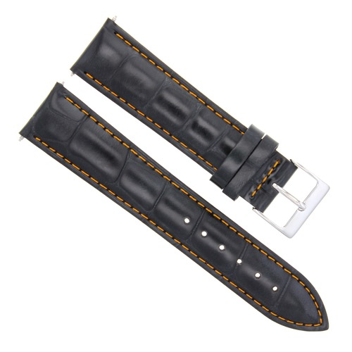 22MM LEATHER WATCH BAND STRAP FOR TISSOT PRC200 PRS 516 T-TOUCH BLACK ORANGE ST