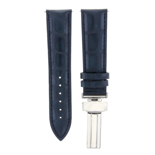 24MM LEATHER WATCH STRAP BAND DEPLOYMENT CLASP MAURICE LACROIX 24/22MM D/BLUE