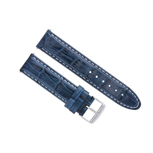 18MM  LEATHER WATCH STRAP BAND FOR OMEGA SEAMASTER SPEEDMASTER MOON BLUE WS
