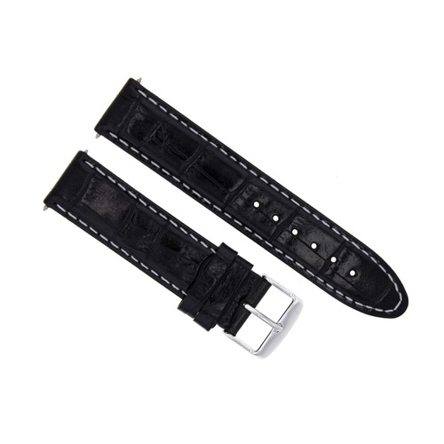 20MM LEATHER WATCH STRAP BAND FOR 41MM OMEGA SEAMASTER PLANET OCEAN BLACK WS
