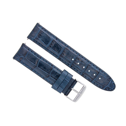 20MM LEATHER WATCH STRAP BAND FOR 41MM OMEGA SEAMASTER PLANET OCEAN BUCKLE BLUE