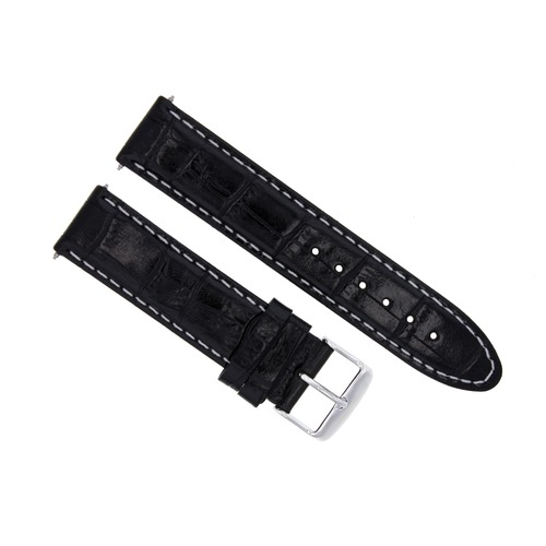 22MM LEATHER WATCH STRAP BAND FOR 45.5 OMEGA SEAMASTER PLANET OCEAN BLACK WS