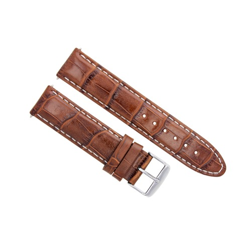 22MM LEATHER WATCH STRAP BAND FOR OMEGA SEAMASTER PLANET OCEAN BROWN/TAN WS TQ