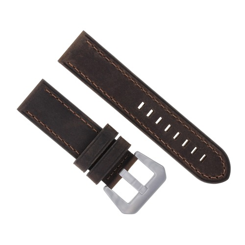 24MM COW LEATHER WATCH BAND STRAP FOR PANERAI GMT LUMINOR RADIOMIR D/BROWN  #17