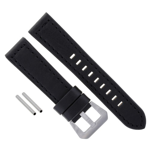 BIG 24MM COW LEATHER WATCH BAND STRAP FOR BREITLING BLACK NAVITIMER SHINY BUCKLE #14