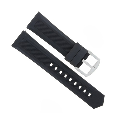 20MM SOFT RUBBER WATCH BAND STRAP FOR TAG HEUER BLACK WITH CURVED ENDS