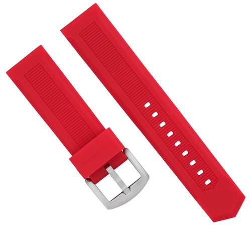 22MM RUBBER WATCH BAND STRAP DEPLOYMENT CLASP FOR TAG HEUER F-1 AQUARACER RED