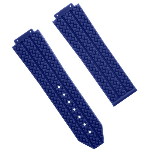 24MM TIRE RUBBER WATCH STRAP BAND FOR H 44-45MM HUBLOT BIG BANG SCREWDRIVER BLUE