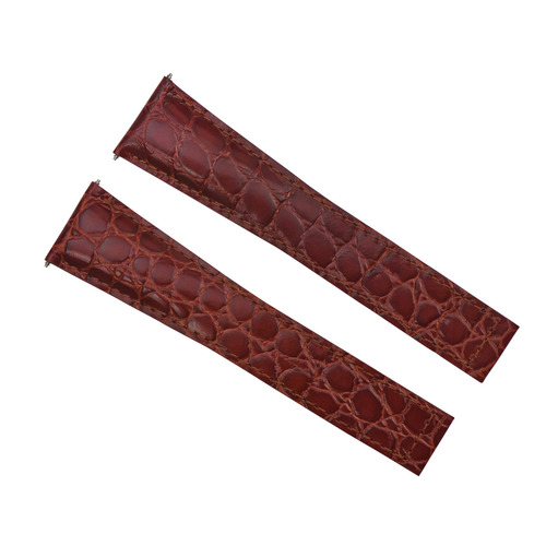 24MM GENUINE LEATHER STRAP ALLIGATOR GRAIN BAND FOR MAURICE LACROIX TAN/BURGANDY
