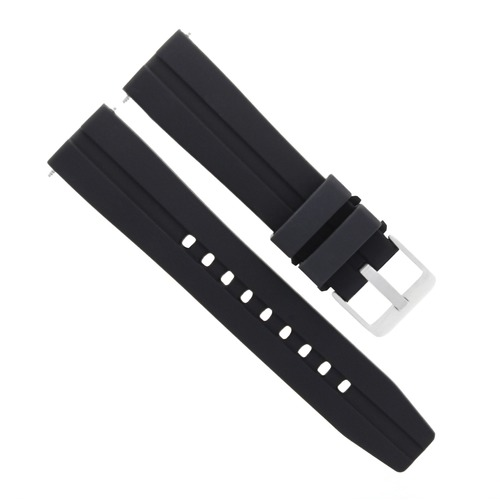 24MM SILICONE RUBBER DIVER BAND STRAP FOR TISSOT PRS516 RACING WATCH BLACK