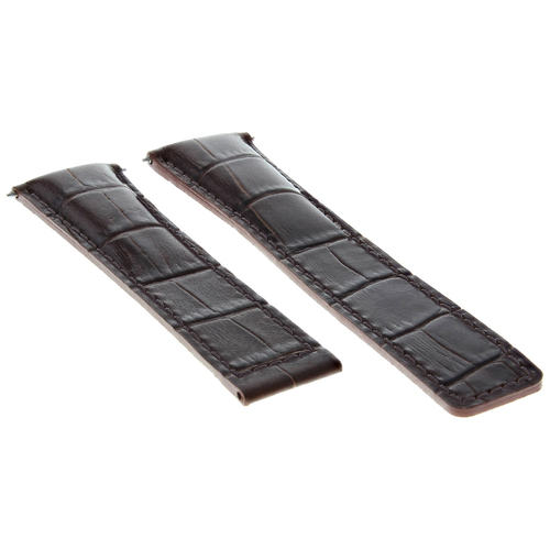 20MM LEATHER WATCH BAND STRAP FOR TAG HEUER CARERRA CALIBRE DEPLOY CLASP D/BROWN