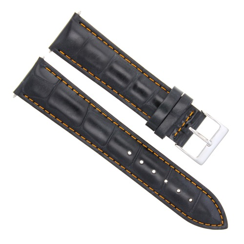 19MM LEATHER WATCH BAND STRAP FOR 34MM ROLEX DATE 1500 5500 BLACK ORANGE STITCH