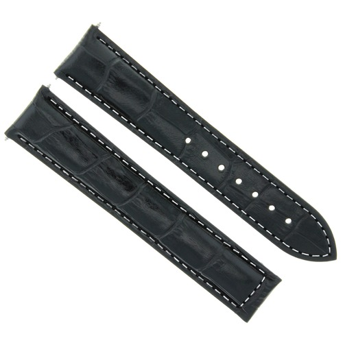 18MM LEATHER WATCH STRAP BAND FOR OMEGA SEAMASTER SPEEDMASTER MOON BLACK WS#21