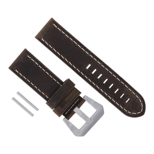 24MM COW LEATHER WATCH BAND STRAP FOR BREITLING WATCH COLT BROWN WHITE STITCH