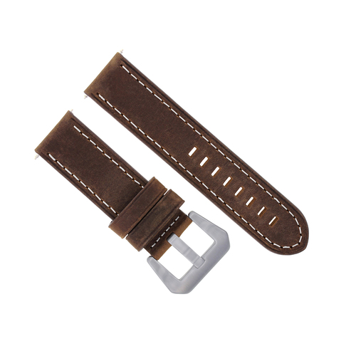 24MM COW LEATHER WATCH BAND STRAP FOR BREITLING COLT AVENGER BROWN WHITE STITCH