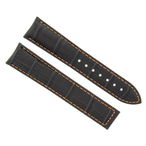 LEATHER WATCH STRAP BAND CLASP FOR 22MM OMEGA SEAMASTER PLANET OCEAN D. BROWN OS