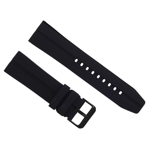 24MM SILICON RUBBER DIVER BAND STRAP FOR TISSOT PRS516 PRC200 WATCH BLACK BUCKLE