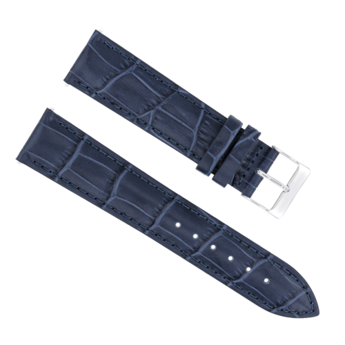 19MM LEATHER WATCH STRAP BAND FOR 34MM ROLEX DATE AIRKING 1400, 1505, 5700 BLUE