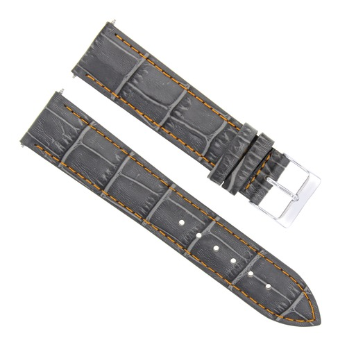 21MM LEATHER BAND STRAP FOR LONGINES WATCH WITH BUCKLE GREY ORANGE STITCH