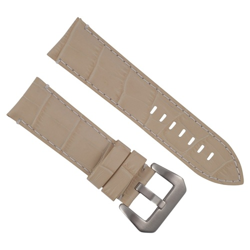 24MM GENUINE LEATHER WATCH BAND STRAP FOR PAM 44MM PANERAI BEIGE WHITE STITCH #9