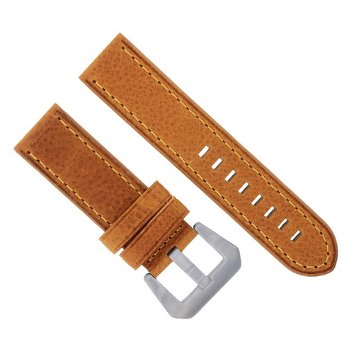 22MM PREMIUM LEATHER PAM WATCH BAND STRAP FOR PANERAI MARINA TAN ORANGE STITCH