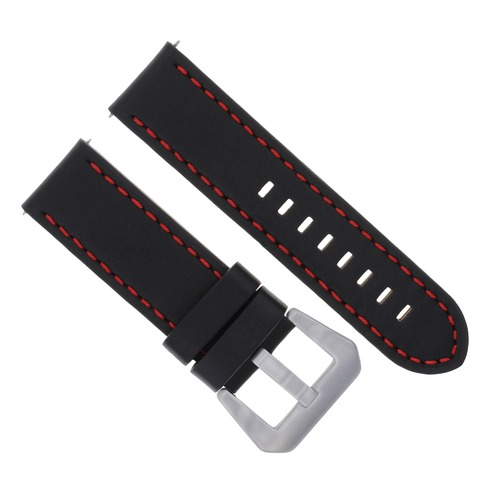 24MM LEATHER WATCH BAND STRAP FOR BREITLING NAVITIMER  COLT AVENGER BLACK RED